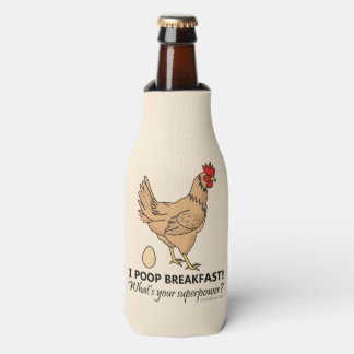 Chicken Poops Breakfast Funny Design Bottle Cooler