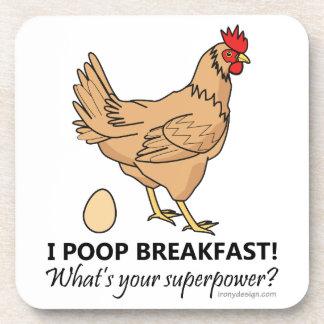 Chicken Poops Breakfast Funny Design Coaster