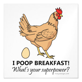 Chicken Poops Breakfast Funny Design Magnetic Card
