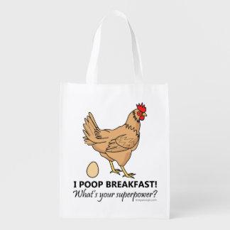 Chicken Poops Breakfast Funny Design Reusable Grocery Bag
