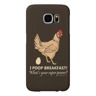 Chicken Poops Breakfast Funny Design Samsung Galaxy S6 Cases