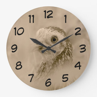 Chicken Portrait in Sepia Large Clock
