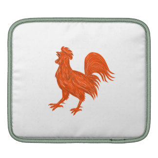 Chicken Rooster Crowing Drawing Sleeve For iPads