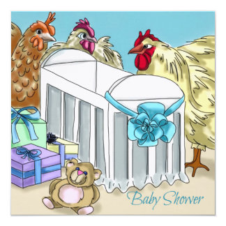 Chicken themed baby shower invitation. card