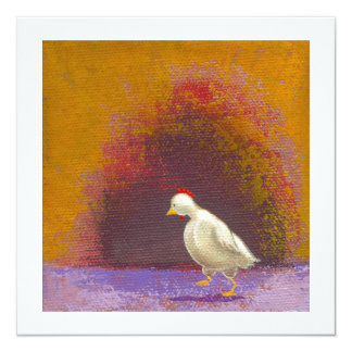 """Chicken walking thinking fun unique colorful art 5.25"""" square invitation card"""
