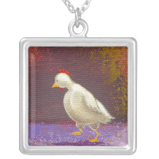 Chicken walking thinking fun unique colorful art necklaces