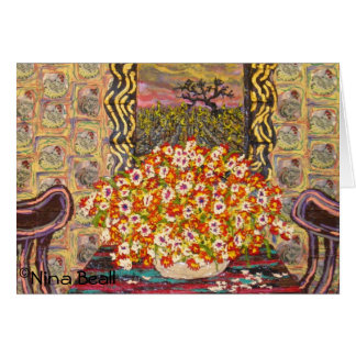 """""""Chicken Wallpaper w/Two Chairs,"""" by Nina Beall Card"""