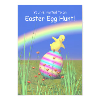 "Chicken Wings Easter Egg Hunt 5"" X 7"" Invitation Card"