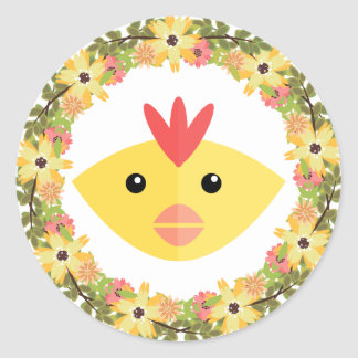 Chicken&Wreath Round Sticker