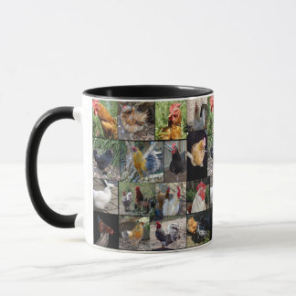 Chickens And Roosters , Collage, Black Coffee Mug