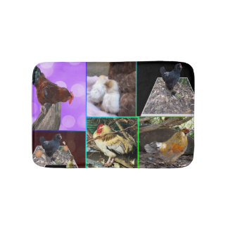 Chickens And Roosters Photo Collage, Bath Mat