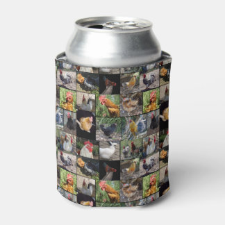 Chickens And Roosters Photo Collage, Can Cooler