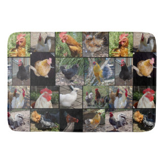Chickens And Roosters Photo Collage, Large Bath Mat