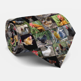 Chickens And Roosters Photo Collage, Tie
