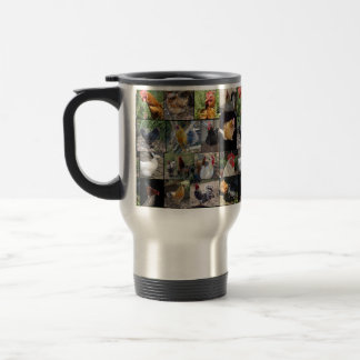 Chickens And Roosters Photo Collage, Travel Mug