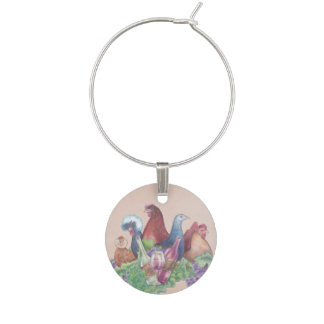 Chickens and Wine Wine Charm