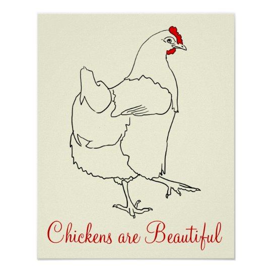 Chickens are Beautiful Funny Quirky Colourful Art Poster