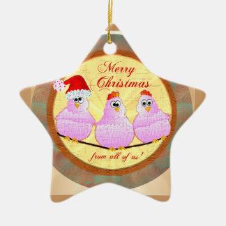 Chickens Christmas Star Ornament