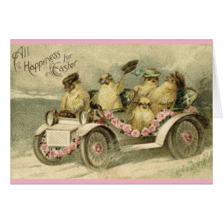 Chickens Driving Easter Holiday Card
