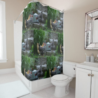 Chickens Gossiping Around The Water Cooler Shower Curtain