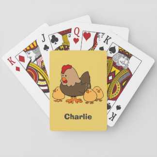 Chickens illustration custom name playing cards