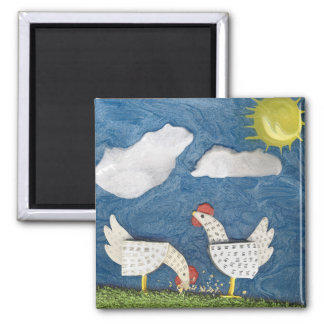 Chickens in the Yard - diorama picture Square Magnet