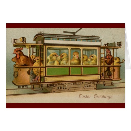 Chickens on Trolley Car Vintage Easter Greeting Card