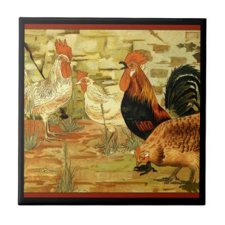 Chickens Roosters in the Farmyard Small Square Tile