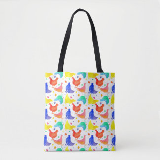 Chickens Watercolor Illustration Tote Bag