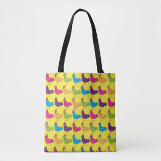 ChickinBoots Colourful Chickens Tote Bag