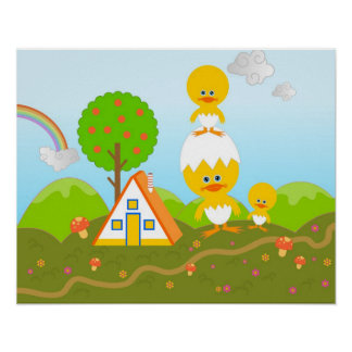 Chicks and orange tree poster