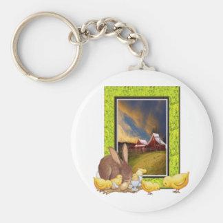 Chicks and rabbit key chain