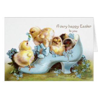 Chicks in a Shoe Vintage Easter Card
