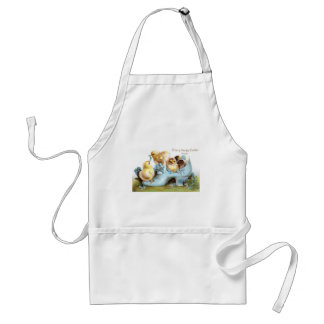 Chicks in a Shoe Vintage Easter Card Adult Apron