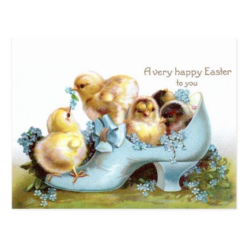Chicks in a Shoe Vintage Easter Card Postcard