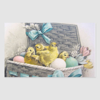 Chicks in basket with eggs and flowers rectangular sticker