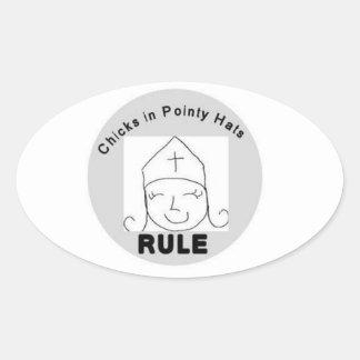 Chicks in Pointy Hats RULE Sticker
