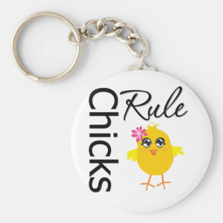 Chicks Rule 1 Basic Round Button Key Ring