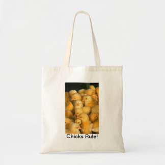 Chicks Rule! Baby Chick Humorous Funny Budget Tote Bag