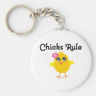 Chicks Rule Basic Round Button Key Ring