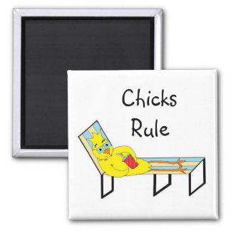 Chicks Rule Fridge Magnets