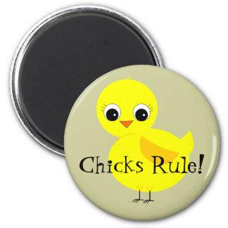 Chicks Rule Refrigerator Magnets