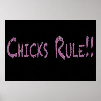 Chicks Rule on Black Poster