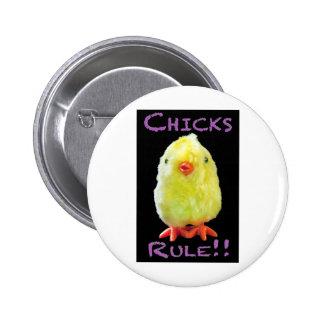 Chicks Rule Portrait on Black Pin