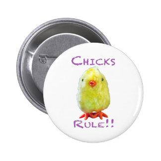 Chicks Rule Portrait Transparent Button