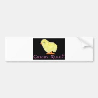 Chicks Rule Side Bumper Sticker