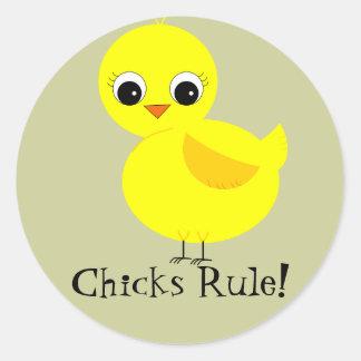 Chicks Rule! Round Sticker