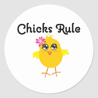 Chicks Rule Round Stickers