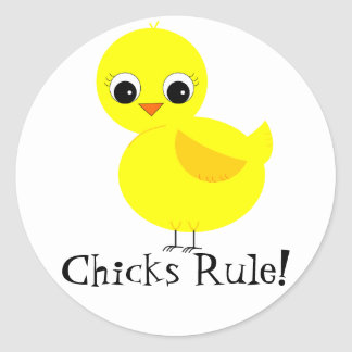 Chicks Rule! Round Stickers