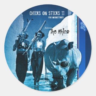 chicks_sticks_rhino_print_noText_noLogo, chicks... Round Sticker